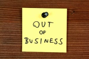out of business sticky note